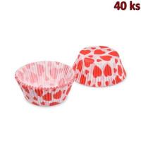 Cukrářské košíčky červená srdíčka Ø 50 x 30 mm [40 ks]