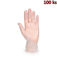 Rukavice vinylové bílé, pudrované (vel. M) [100 ks]
