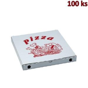 Krabice na pizzu z vlnité lepenky 28 x 28 x 3 cm [100 ks]